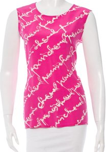 Chanel Silk Logo Monogram Sleeveless New M Medium 6 8 Print Embellished Gold Gold Hardware Top Pink, White