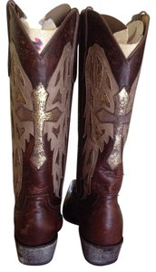 Old Gringo Brown Leather Cross Brown/gold Boots