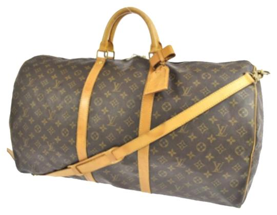 Louis Vuitton Keepall Bandouliere with Crossbody Strap + Luggage Tag + Lock + Poignet M41412 Monogram Canvas and Leather Weekend/Travel Bag
