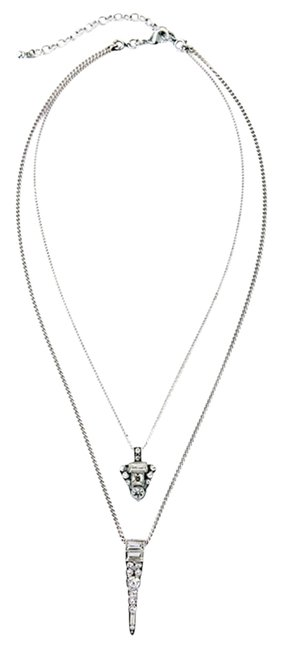 Silver Point Crystal 2 Chain Necklace Silver Point Crystal 2 Chain Necklace Image 1