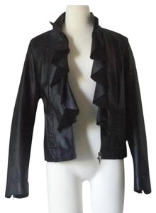 Bagatelle Leather Ruffle Like New Medium Leather Jacket