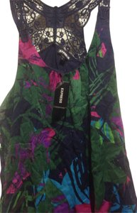 Express Sleeveless Black With Abstract Halter Style Top Floral island print