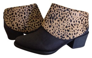 Anthropologie Black Bootie Leather Calfhair Black/Leopard Boots