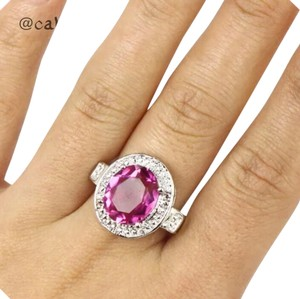 Other Pink Tourmaline and CZ & Sterling Silver Sz 6.5