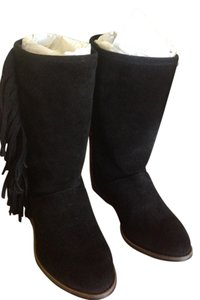 Anthropologie Fringed Boot Textile Black/Red Boots