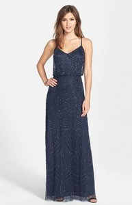 Adrianna Papell Navy Beaded Chiffon Blouson Gown Dress