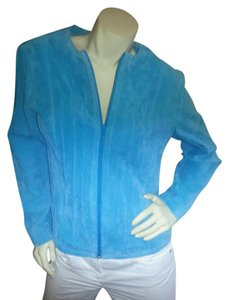 Yvonne le Maria Leather Suede Teal Leather Jacket