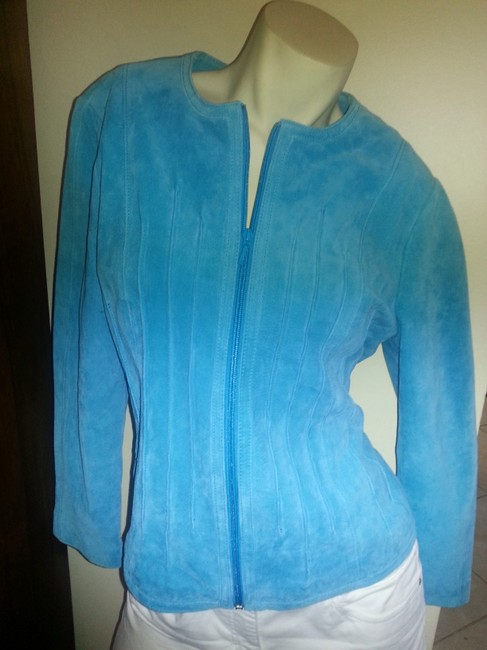 Yvonne le Maria Suede Teal Leather Jacket