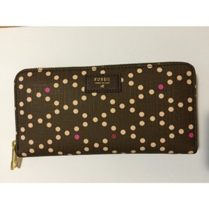 Fossil Fossil wallet- Brown With Pink Dots