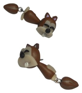 New Squirrel Dangle Double Side Earrings Brown J2184