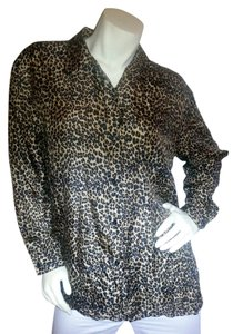 STUNT Silk Button Down Leopard Tunic