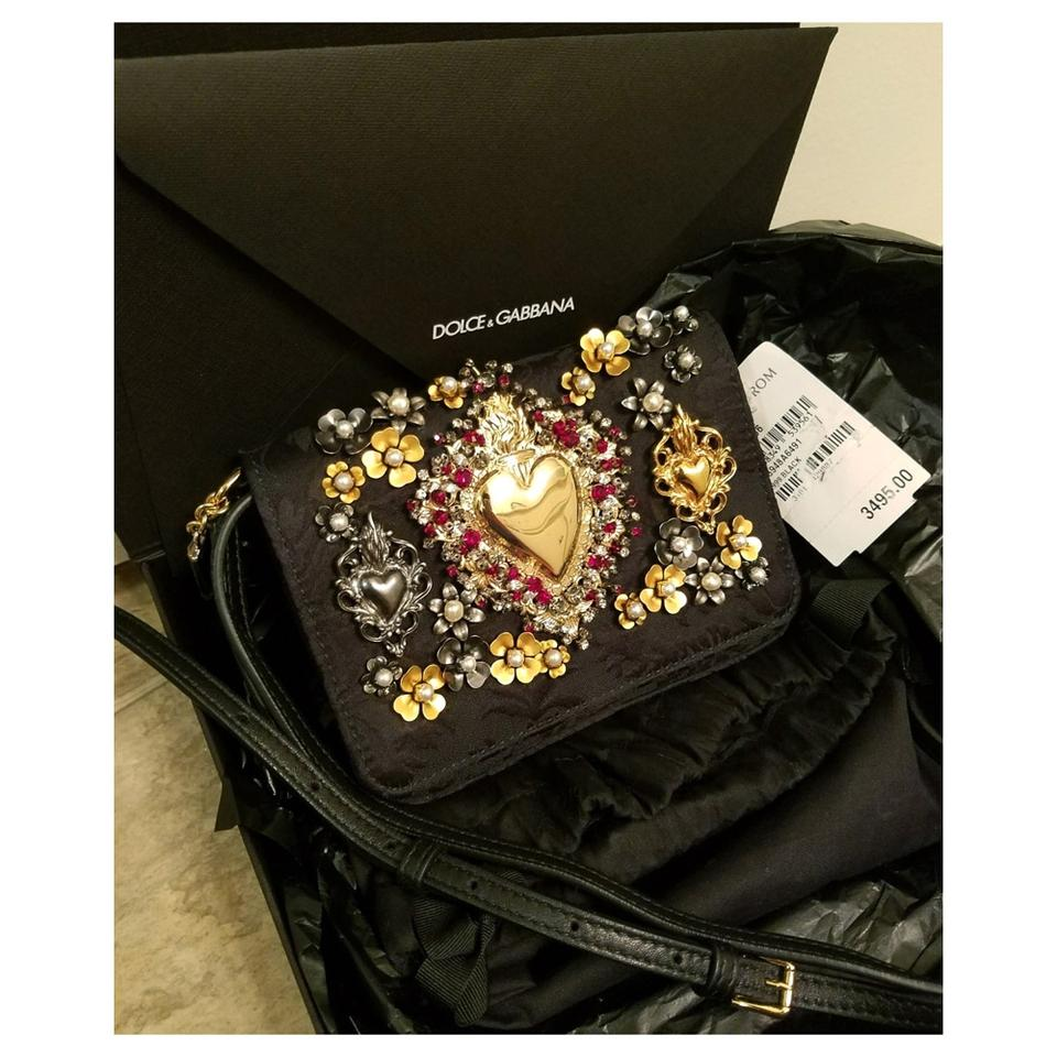 e6111bd02f Dolce Gabbana Lily Twist Gilded Sacred Heart Clutch Black Gold ...