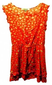 Forever 21 Top Orange with Yellow pattern