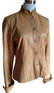 True Meaning Leather Tailored Tan Hip Length Top Stitching Designer Buttery Tan Leather Jacket