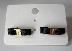 Anthropologie New Anthropologie mini bow ribbon black fabric gold plated stud earrings