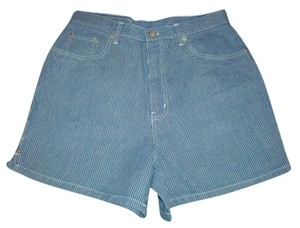 Bill Blass Railroad Stripe High Waist Women Vintage Denim Shorts-Medium Wash