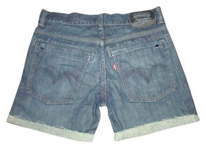Levi's Levi Indigo Blue Utility Zippered Pockets Denim Midi Cut Off Shorts DARK BLUE