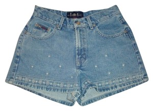 L.E.I. Daisy Embroidered Vintage Denim Jeans Mini/Short Shorts blue