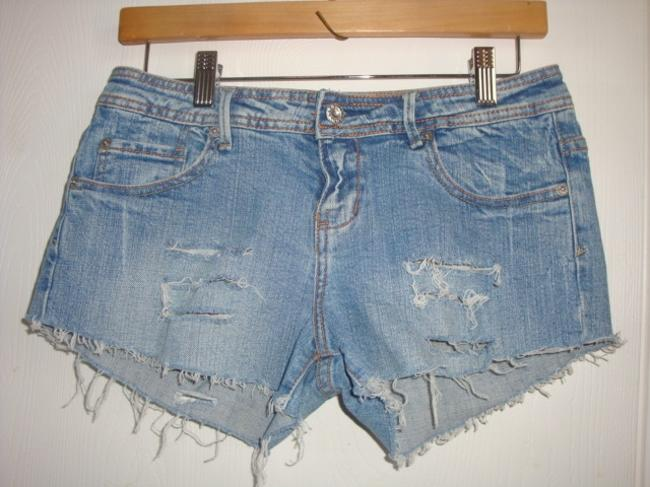 Guess Distressed Frayed Denim Daisy Dukes Destroyed Cut Off Shorts blue