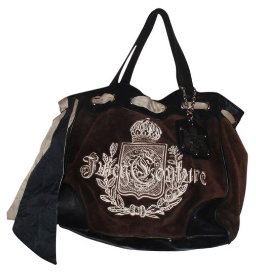 Preload https://item5.tradesy.com/images/juicy-couture-brownblack-suede-leather-tote-1280154-0-0.jpg?width=440&height=440