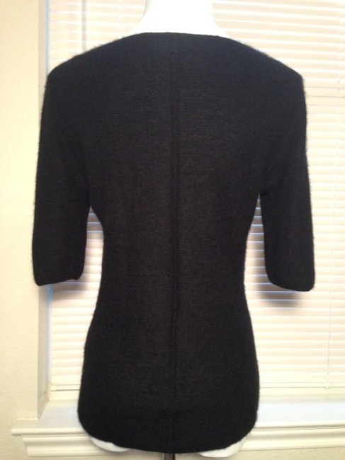 Elie Tahari Leather Cashmere Night Out Date Night Casual Chic Sweater