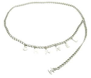 Chanel Authentic Chanel Silver-Tone Letter Motif Chain Belt