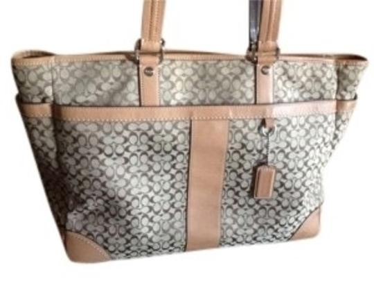 Preload https://item3.tradesy.com/images/coach-purse-tan-beige-brown-leather-canvas-tote-128037-0-0.jpg?width=440&height=440