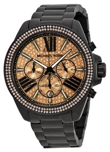 Michael Kors Rose Gold CRystal Pave Black Ion Plated Ladies Casual Glam Watch