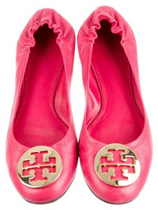 Tory Burch Classic Leather Ballerina Reva Reva Revas Logo Ballet Box Leather Logo 9.5 Orchid Pink and Gold Flats