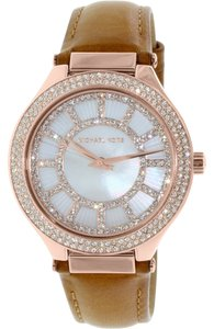 Michael Kors Mother of Pearl Crystal Bezel Rose Gold Brown Leather Strap Dress Watch