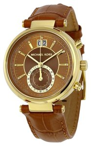 Michael Kors Brown Dial Gold tone Brown Croc Embossed Leather Strap Luxury Ladies Watch