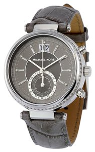 Michael Kors Grey Dial Silver Stainless Steel Croc Embossed Leather Strap Ladies Watch