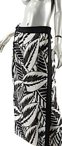 Max Mara Linen Wrap Maxi Skirt Black & White