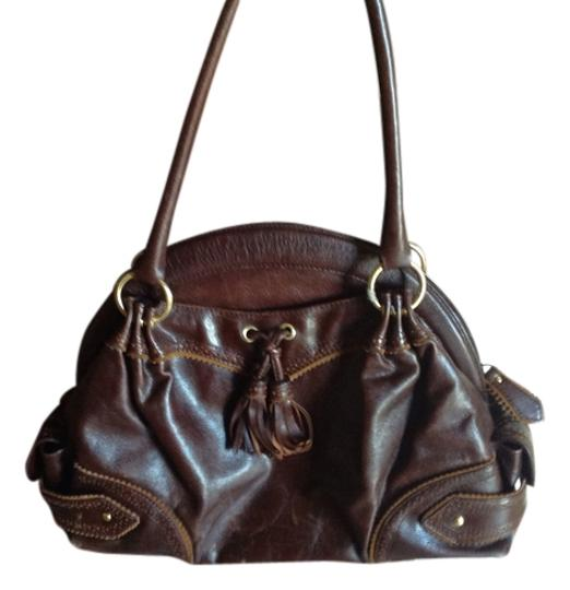 Isabella Fiore Lots Of Pockets 6 Inch Handle Drop Satchel in Brown