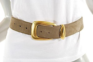 Donna Karan DONNA KARAN NY Khaki Nubuck Belt w/Brushed Gold Buckle