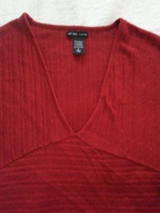 New York & Company Shimmer Dolman Slimming Versatile Top Red