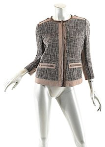 Elie Tahari Cotton Blend Grey Ivory Taupe Blazer