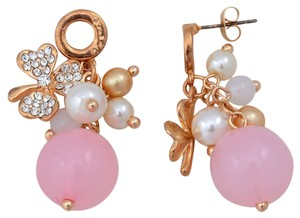 Other Lucky Clover Charm Cute Pink Fashion Earrings in Goldtone Free Shipping