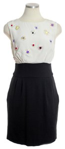 Trina Turk Silk Bodice Ponte Knit Skirt Beaded Sleeveless Dress