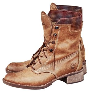 Timberland Lace Up Leather Textile Cuff Tan Boots