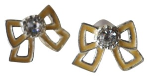Anthropologie New Anthropologie yellow mini bow ribbon crystal stone silver plated stud earrings