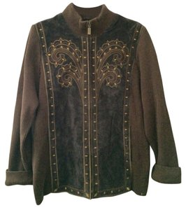 Bob Mackie Chocolate Leather Jacket