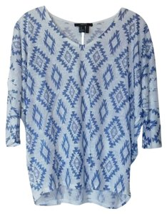 Forever 21 Print Top Blue/White