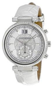 Michael Kors Crystal Pave Dial Silver Metallic Croc Embossed Leather Strap
