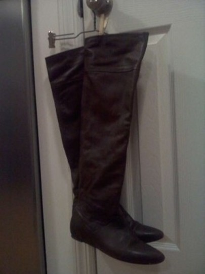 Pour La Victoire Leather Over The Knee Flats Brown Boots
