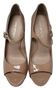 Via Spiga Leather Peep Toe Slip On Buckle Side Casual Solid Heel B2877 Tan Pumps