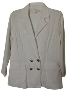 CAbi Frontockets Gold Buttons Fully Lined White Jacket