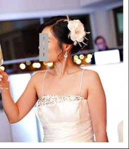 Ivory Bride Clip with Silk Organza Flower Feathers Swarovski Crystals Tulle Hair Accessory