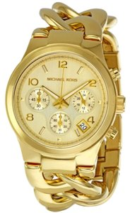 Michael Kors Gold tone Stainless Steel Chain Twist Link Strap Casual Ladies Designer Watch