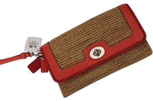 Coach Straw Turnlock Clutch Wristlet in Natural and Tangerine